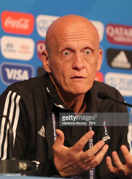 Pierluigi Collina addresses some questions surrounding refereeing during the FIFA Women's World Cup France 2019 during a press conference at Parc des...
