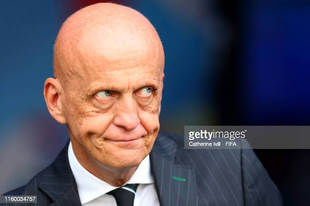 Pierluigi Collina ahead of the 2019 FIFA Women's World Cup France Semi Final match between Netherlands and Sweden at Stade de Lyon on July 03 2019 in...
