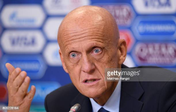 Pierluigi Collina FIFA Chairman of the Referees Committee speaks to the media during the Closing Press Conference of the FIFA Confederations Cup...