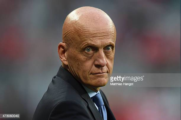 Pierluigi Collina looks on prior to the UEFA Champions League semi final second leg match between FC Bayern Muenchen and FC Barcelona at Allianz...