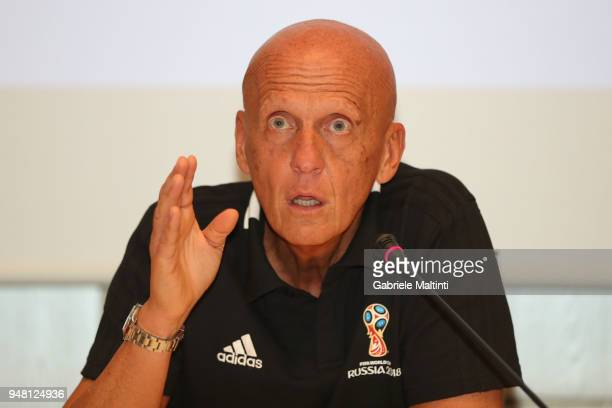 Pierluigi Collina president of the FIFA Referees Commission during the FIFA Referee Seminar Media Day at Coverciano on April 18 2018 in Florence Italy