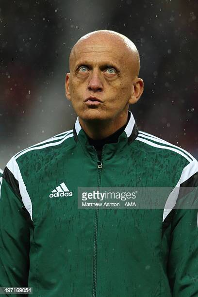 Pierluigi Collina the referee from Italy before the David Beckham Match for Children in aid of UNICEF at Old Trafford on November 14 2015 in...