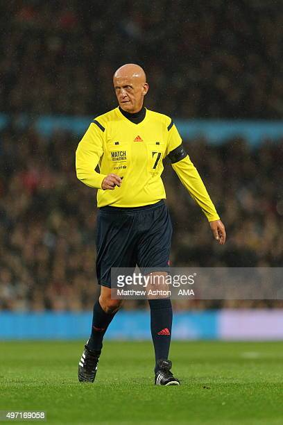 Pierluigi Collina the referee from Italy during the David Beckham Match for Children in aid of UNICEF at Old Trafford on November 14 2015 in...