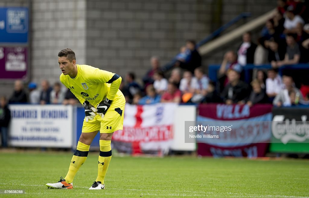 Pierluigi Gollini of Aston Villa during the Pre-Season Friendly match between AFC Telford and Aston Villa at the New Buckshead Stadium on July 16, 2016 in Telford, England.