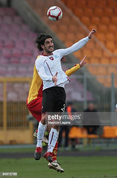 Piermario Morosini of Reggina Calcio competes for a header during the Serie B match between Gallipoli Calcio and Reggina Calcio at Stadio Via del...
