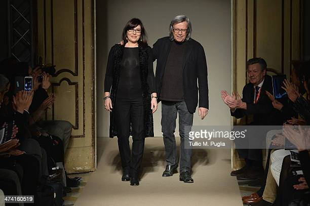 Piero and Miriam Cividini walk the runway at the Cividini Show as part of Milan Fashion Week Womenswear Autumn/Winter 2014 on February 22 2014 in...