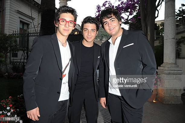 Piero Barone Gianluca Ginoble and Ignazio Boschetto attend the cocktail party Lancia Cafe during the 57th Taormina Film Fest 2011 on June 12 2011 in...