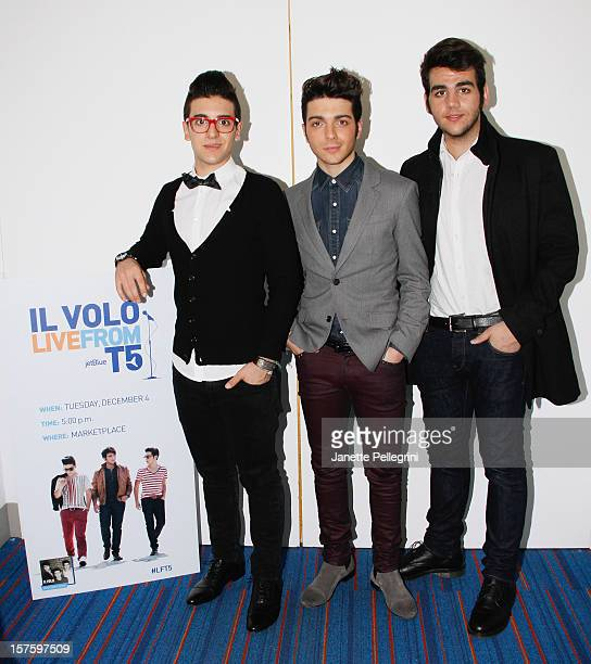 Piero Barone Gianluca Ginoble and Ignazio Boschetto of Il Volo perform a Holiday Concert at Jet Blue Terminal 5 at JFK on December 4 2012 in New York...