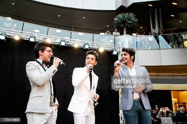 Piero Barone Gianluca Ginoble and Ignazio Boschetto of Il Volo sign copies of their new album 'We Are Love' at Barnes Noble 3rd Street Promenade on...