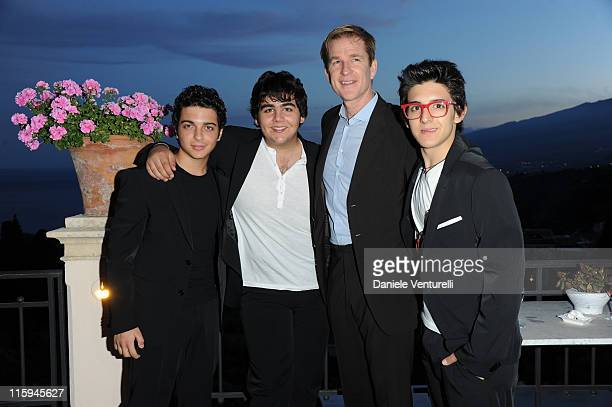 Piero Barone Gianluca Ginoble Matthew Modine and Ignazio Boschetto attend the cocktail party Lancia Cafe during the 57th Taormina Film Fest 2011 on...