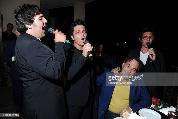 Piero Barone Gianluca Ginoble Oliver Stone and Ignazio Boschetto attend the 'Oliver Stone Honored With Taormina Arte Award' Dinner during the 57th...