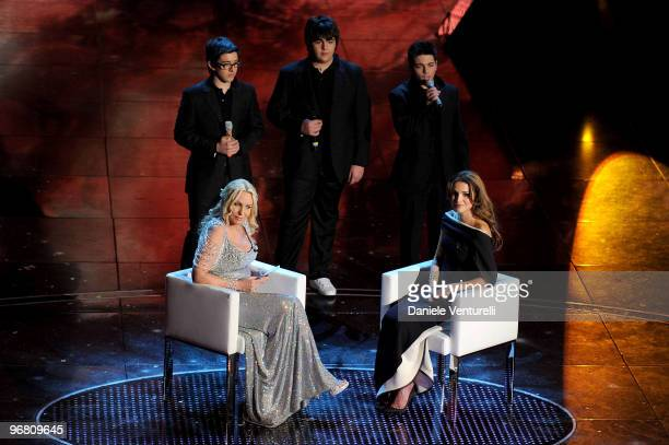 Piero Barone Ignazio Boschetto Gianluca Ginoble Antonella Clerici and Queen Rania Of Jordan attends the 60th Sanremo Song Festival at the Ariston...