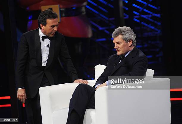 Piero Chiambretti and Alain Elkann attend 'Chiambretti Night' Italian TV Show held at Mediaset Studios on April 8 2010 in Milan Italy