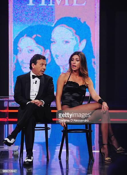 Piero Chiambretti and Belen Rodriguez attend the 'Chiambretti Night' TV Show at the Mediaset Studios on April 22 2010 in Milan Italy
