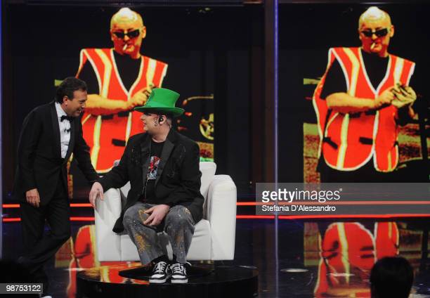 Piero Chiambretti and Boy George attend 'Chiambretti Night' Italian Tv Show held at Mediaset Studios on April 29 2010 in Milan Italy