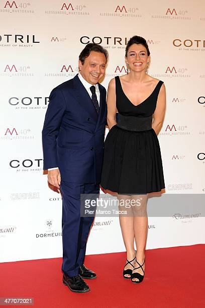 Piero Chiambretti and his wife Federica Laviosa attend the Alessandro Martorana birthday party at Four Seasons Hotel on March 6 2014 in Milan Italy