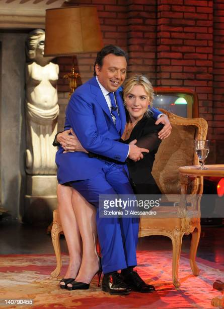 Piero Chiambretti and Kate Winslet attend 'Chiambretti Wednesday Show' Italian TV Show on March 6 2012 in Milan Italy