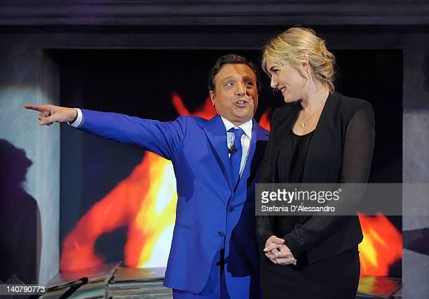 Piero Chiambretti and Kate Winslet attend 'Chiambretti Wednesday Show' Italian TV Show on March 6 2012 in Milan Italy
