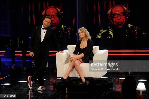 Piero Chiambretti and Lauren Veevers attend 'Chiambretti Night' Italian TV Show held at Mediaset Studios on September 28 2010 in Milan Italy