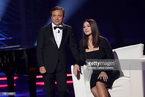 Piero Chiambretti and Monica Bellucci attend the 'Chiambretti Night' TV Show held at Mediaset Studios on October 26 2010 in Milan Italy