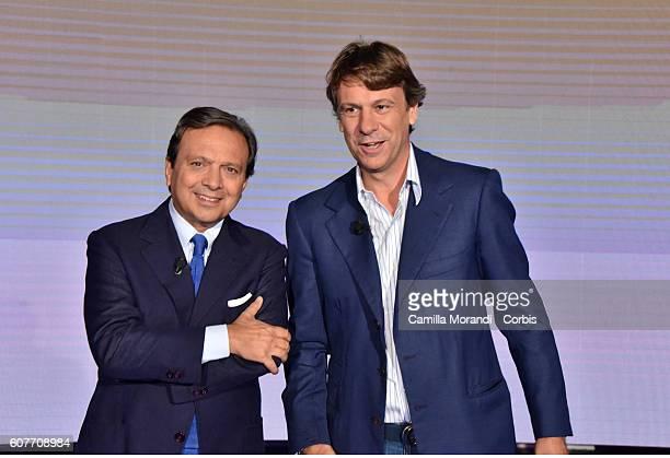 Piero Chiambretti and Nicola Porro attend the presentation of 'Matrix' on September 19 2016 in Rome Italy