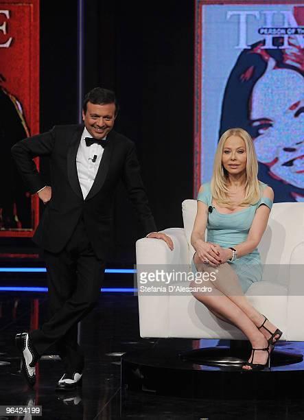 Piero Chiambretti and Ornella Muti attend 'Chiambretti Night' Italian Tv Show held at Mediaset Studios on February 4 2010 in Milan Italy