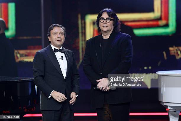 Piero Chiambretti and Renato Zero attend the Chiambretti Night Italian TV Show held at Mediaset Studios on November 19 2010 in Milan Italy
