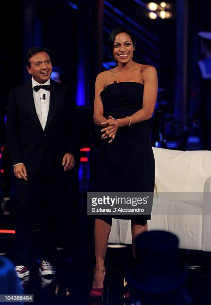 Piero Chiambretti and Rosario Dawson attend 'Chiambretti Night' Italian Tv Show held at Mediaset Studios on September 23 2010 in Milan Italy