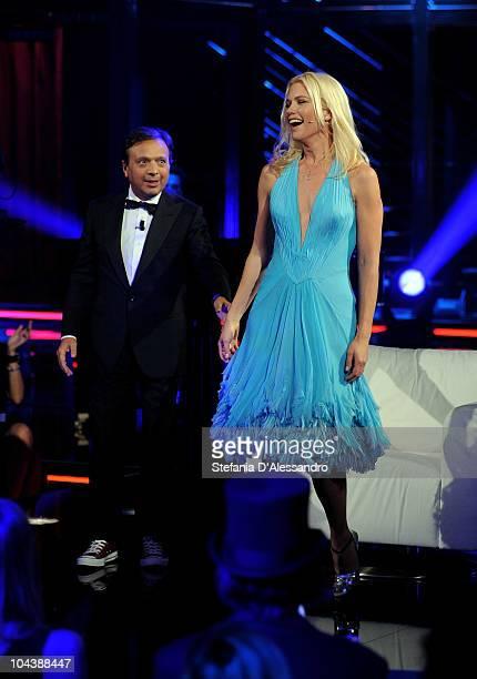 Piero Chiambretti and Valeria Mazza attend 'Chiambretti Night' Italian Tv Show held at Mediaset Studios on September 23 2010 in Milan Italy