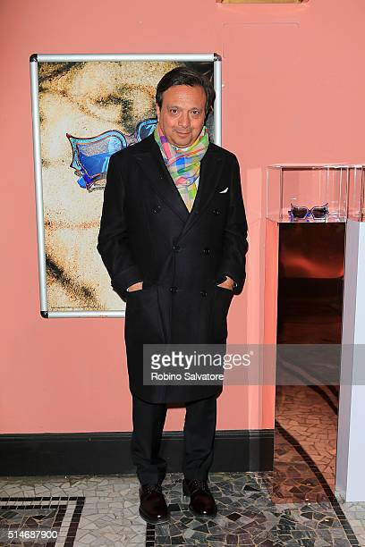 Piero Chiambretti attends 'Peggy Guggenheim Art Addict' Premiere on March 10 2016 in Milan Italy