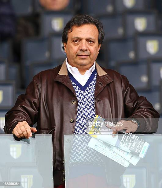Piero Chiambretti looks on before the Serie A match between Parma FC and Torino FC at Stadio Ennio Tardini on March 10 2013 in Parma Italy