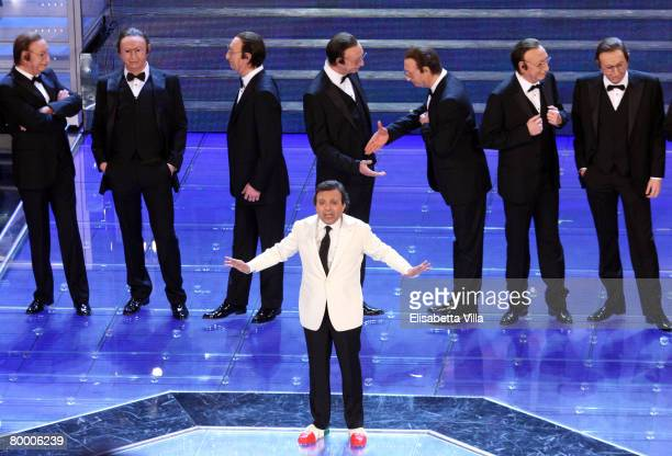 Piero Chiambretti presents the 58th Sanremo Festival at Teatro Ariston on February 25 2008 in Sanremo Italy
