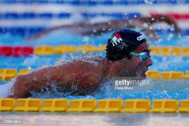 Piero Codia of Italy competes in the men's 200m butterfly during the 57th Settecolli 2020 international swimming trophy at Foro Italico on August 12...