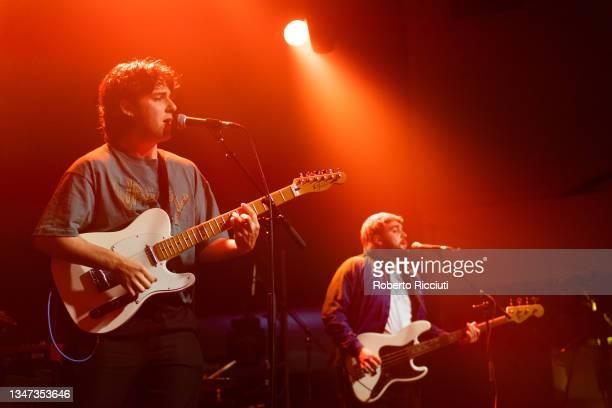 Piero Marcuccilli and Marc Mclaren of Voodoos perform on stage at O2 Academy Edinburgh on October 18, 2021 in Edinburgh, Scotland.