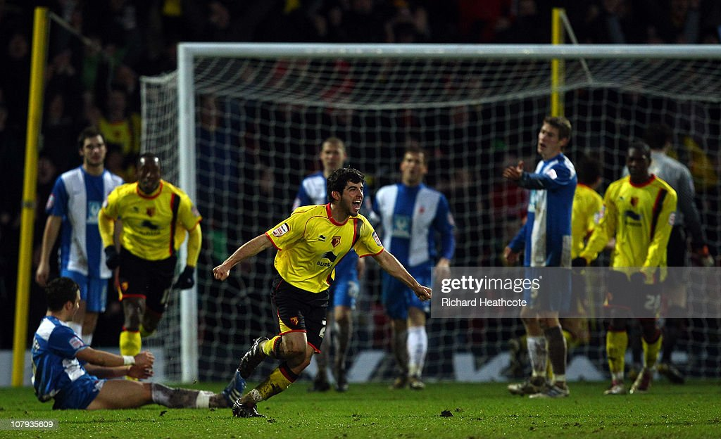 Piero Mingoia celebrates scoring the first Watford goal during the 3rd round FA Cup Sponsored by E.ON match between Watford and Hartlepool United at Vicarage Road on January 8, 2011 in Watford, England.