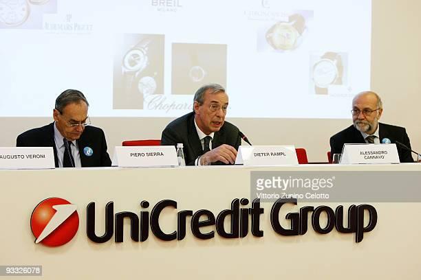 Piero Sierra Dieter Rampl and Pier Giuseppe Pelicci attend the 'Non vedo l'ora di battere il cancro' press conference on November 23 2009 in Milan...
