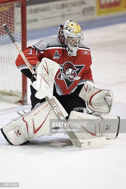 PierOlivier Pelletier of the Drummondville Voltigeurs gets ready for a shot during the game against the Halifax Mooseheads at the Centre Marcel...