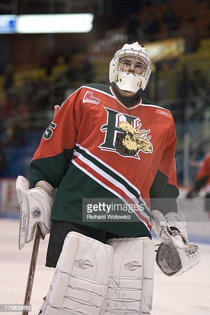 PierOlivier Pelletier of the Halifax Mooseheads skates during the warm up session prior to facing the Drummondville Voltigeurs at the Centre Marcel...