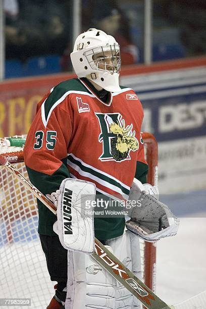 PierOlivier Pelletier of the Halifax Mooseheads watches the play during the game against the Drummondville Voltigeurs at the Centre Marcel Dionne on...