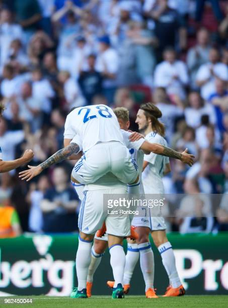 Pieros Sotiriou and Federico Santander of FC Copenhagen celebrate after scoring their first goal during the Danish Alka Superliga Europa League...