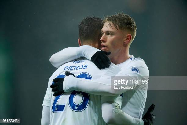 Pieros Sotiriou and Viktor Fischer of FC Copenhagen celebrate after scoring their second goal during the Danish Alka Superliga match between FC...