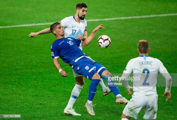 Pieros Sotiriou of Cyprus vs Miha Mevlja of Slovenia during the UEFA Nations League C group three match between Slovenia and Cyprus at SRC Stozice on...