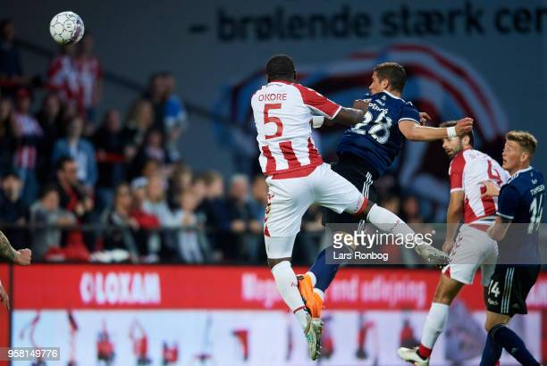 Pieros Sotiriou of FC Copenhagen with a head against Jores Okore of AaB Aalborg during the Danish Alka Superliga match between AaB Aalborg and FC...