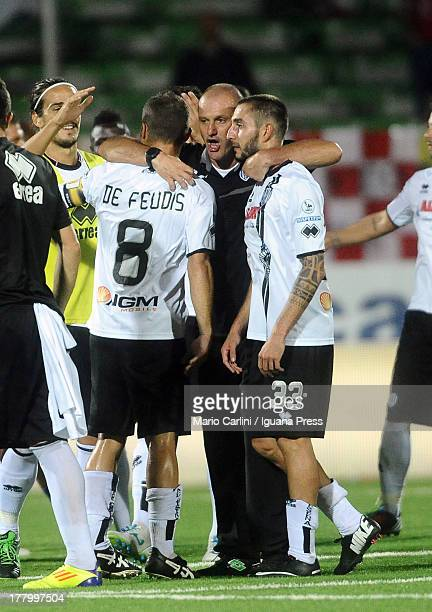 Pierpaolo Bisoli head coach of AC Cesena celebrates with his players at the end of the Serie B match between AC Cesena and AS Varese at Dino Manuzzi...