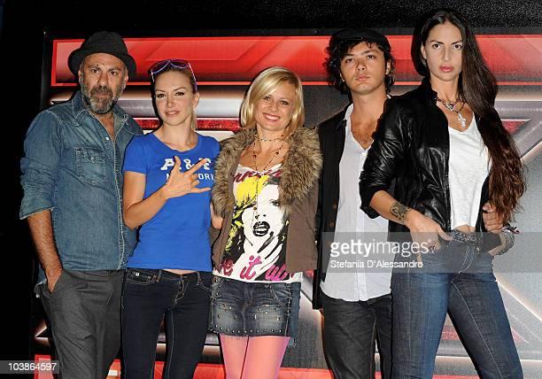 Pierpaolo Peroni Alessandra Barzaghi Antonella Elia Carlo Pastore and Benedetta Mazzini attend 'X Factor' Press Conference held at the Blue Note on...
