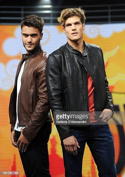 Pierpaolo Petrelli e Elia Fongaro attend 'Striscia La Notizia' TV Show Photocall on September 20 2013 in Milan Italy