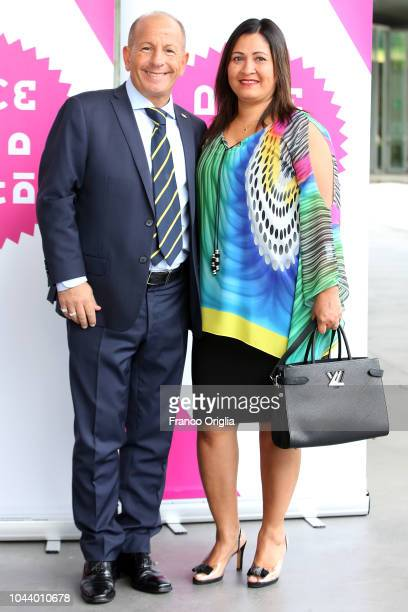 Pierpaolo Piastra and Patricia Duarte attend the Alice Nella Città Photocall at the Maxxi Museum on October 1 2018 in Rome Italy