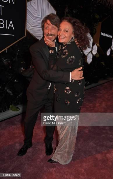 Pierpaolo Piccioli and Diane von Furstenberg attend the Fashion Trust Arabia Prize awards ceremony on March 28, 2019 in Doha, Qatar.