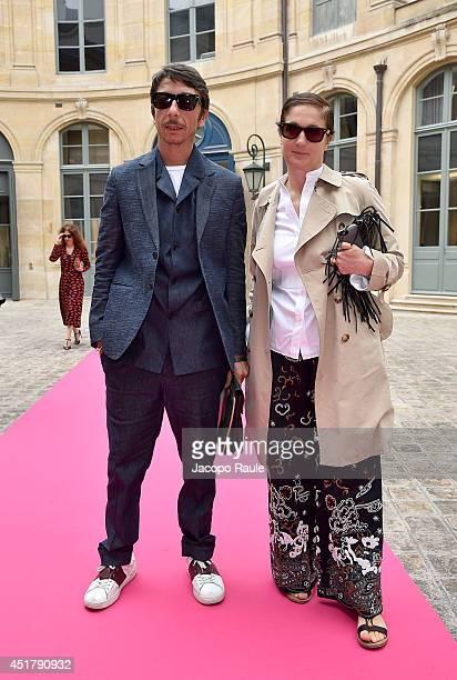 Pierpaolo Piccioli and Maria Grazia Chiuri attend the Schiaparelli show as part of Paris Fashion Week Haute Couture Fall/Winter 20142015 on July 7...