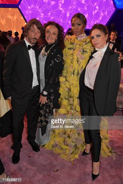 Pierpaolo Piccioli Diane von Furstenberg Naomi Campbell and Victoria Beckham attend the Fashion Trust Arabia Prize awards ceremony on March 28 2019...